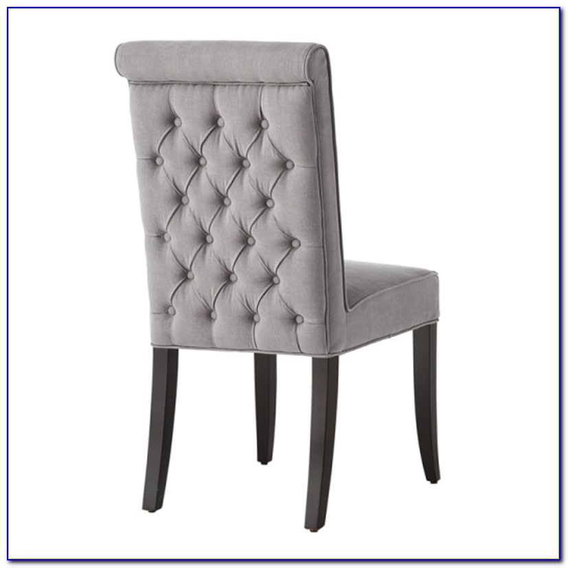Grey Fabric Dining Chairs With Chrome Legs