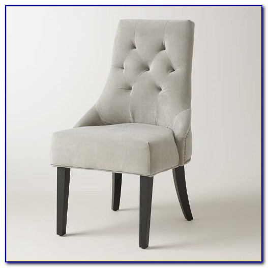 Grey Tufted Dining Chairs With Nailheads