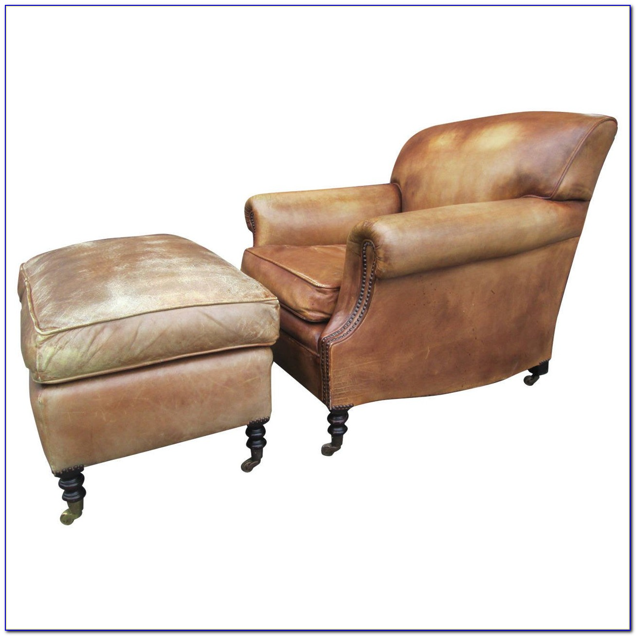 Leather Club Chair And Storage Ottoman