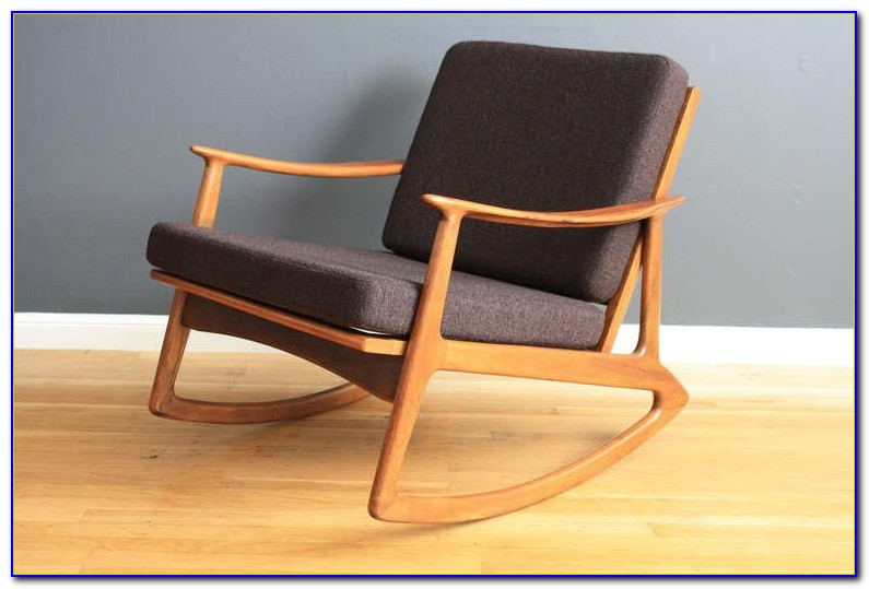 Mid Century Modern Upholstered Rocking Chair