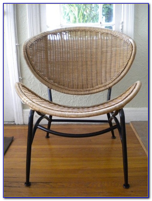 Mid Century Wicker Hoop Chair