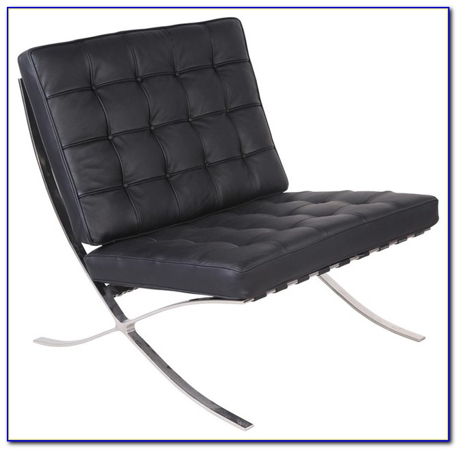 Modern Black Leather Accent Chair