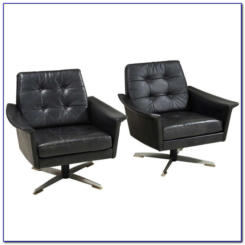Modern Black Leather Club Chairs