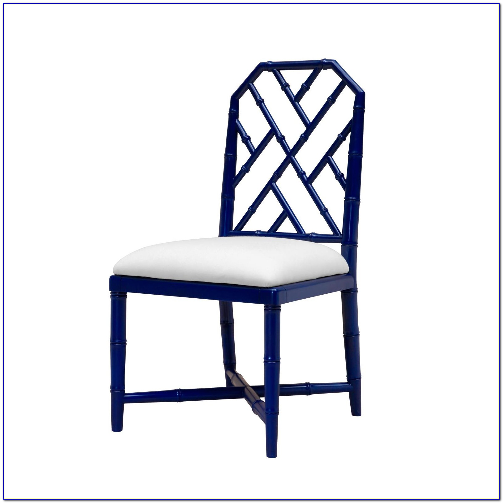 Navy Blue Leather Side Chair