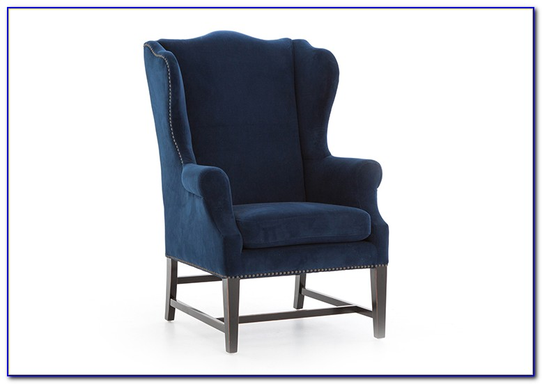 Navy Blue Linen Wingback Chair