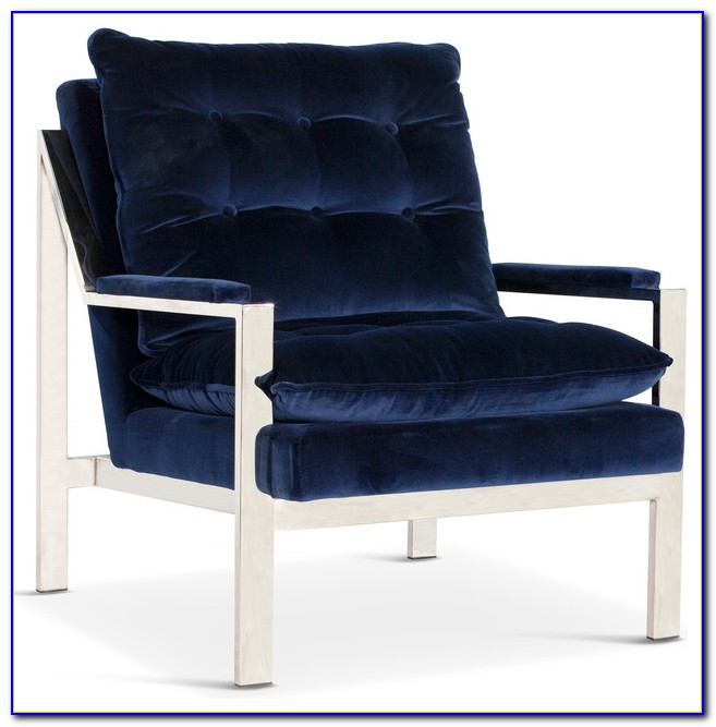 Navy Blue Velvet Armchair