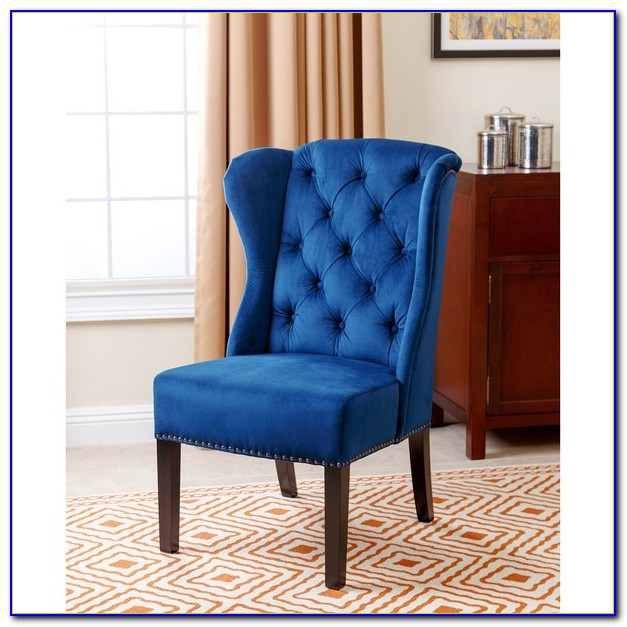 Navy Blue Wing Chair Slipcover