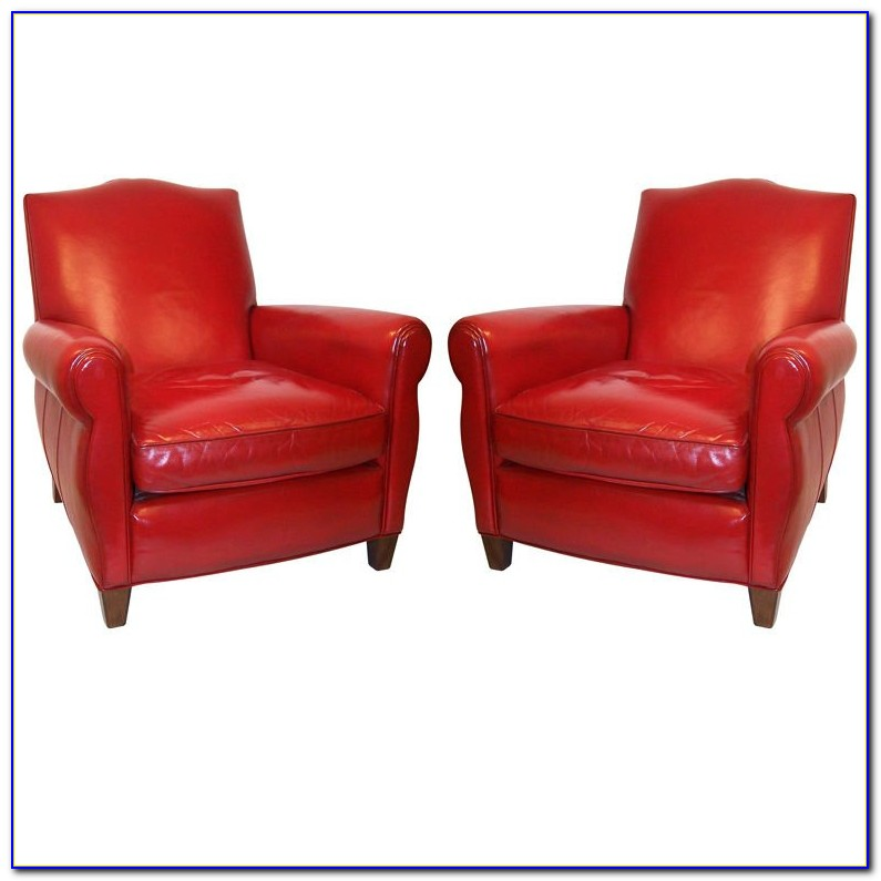 Red Leather Club Chair And Ottoman