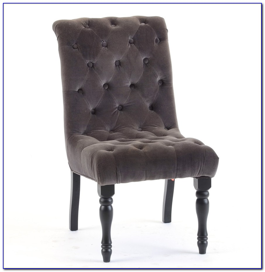 Silver Velvet Tufted Dining Chairs