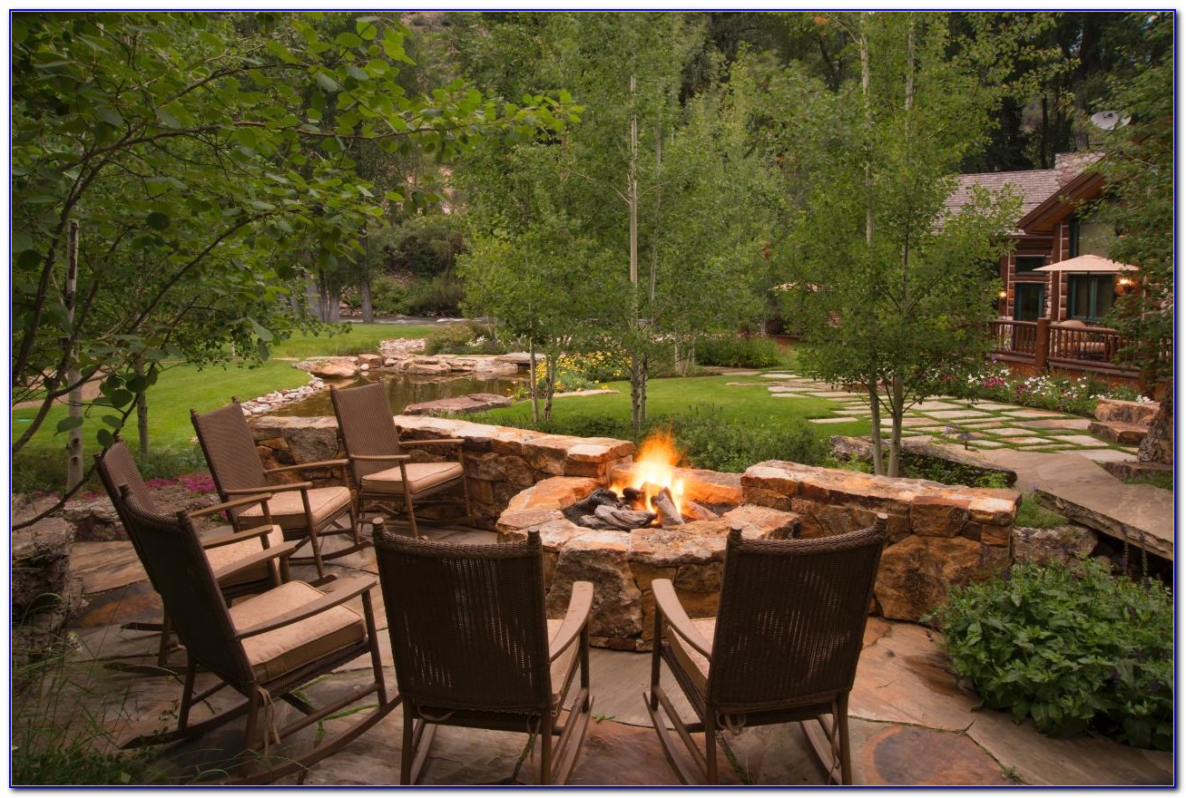 Swing Chairs Around Fire Pit