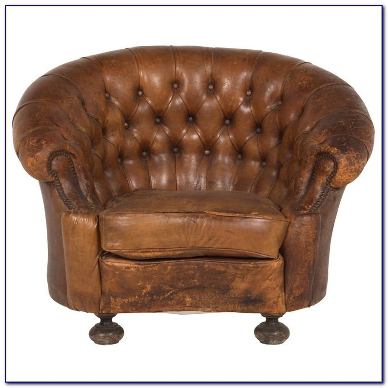 Vintage Leather Club Chair By Rose