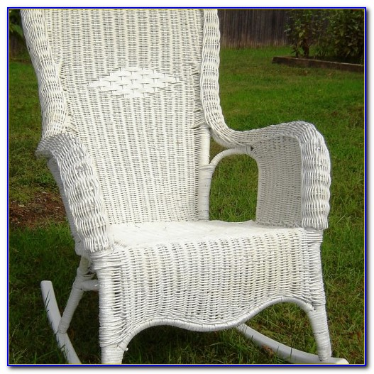 Vintage White Wicker Rocking Chair