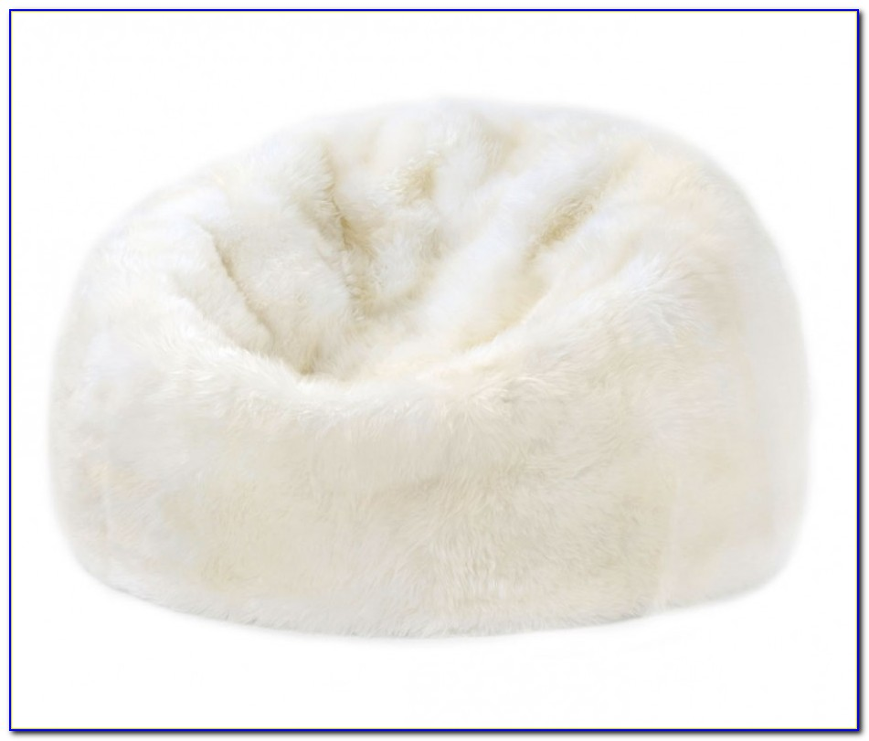 White Furry Bean Bag Chair