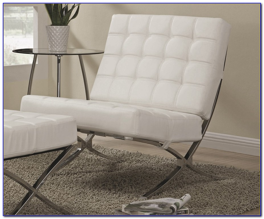 White Leather Accent Chair Modern