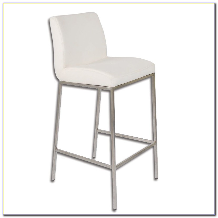 White Leather Bar Stools Contemporary