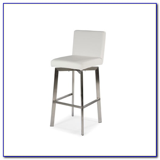 White Leather Bar Stools With Nailheads