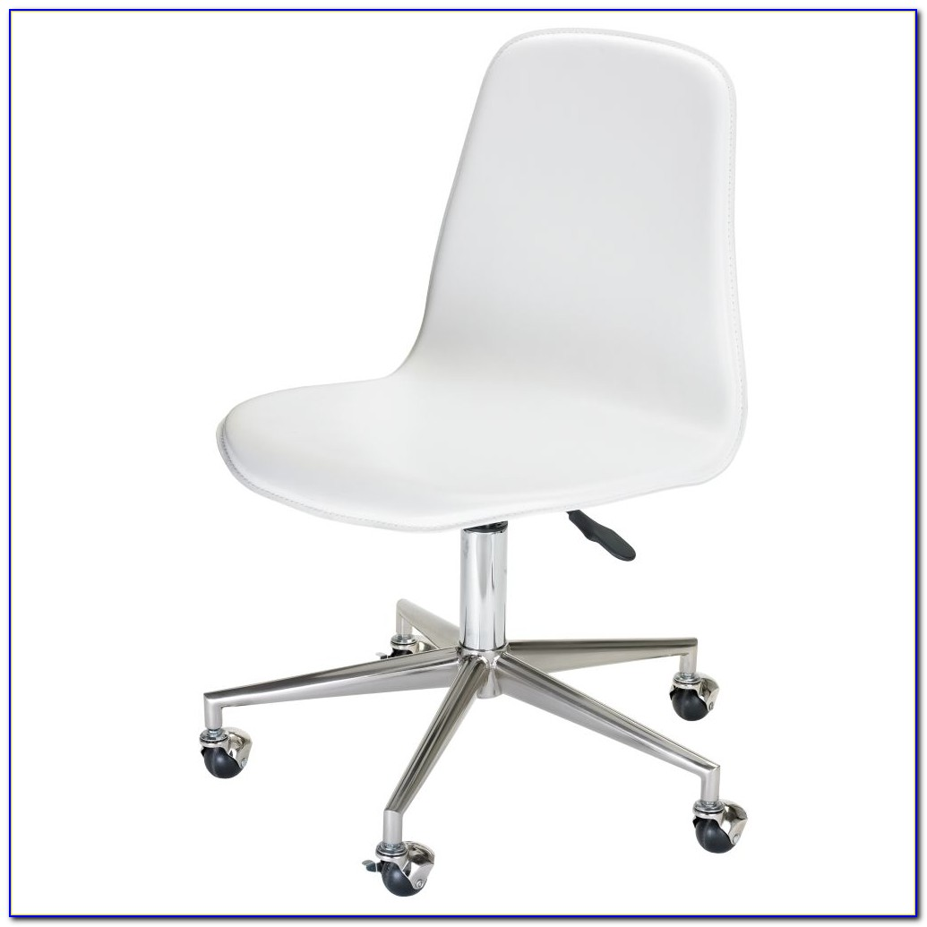 White Leather Desk Chair No Arms