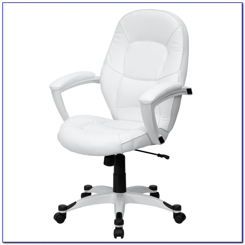 White Leather Desk Chair No Wheels