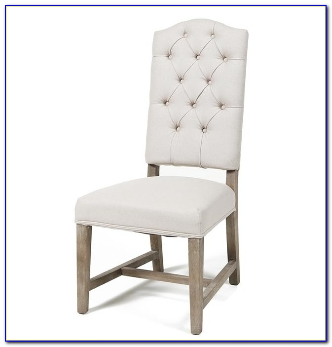 White Linen Tufted Dining Chair