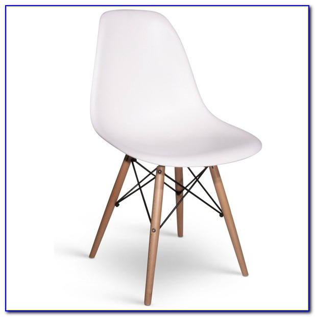 White Office Chair Wooden Legs