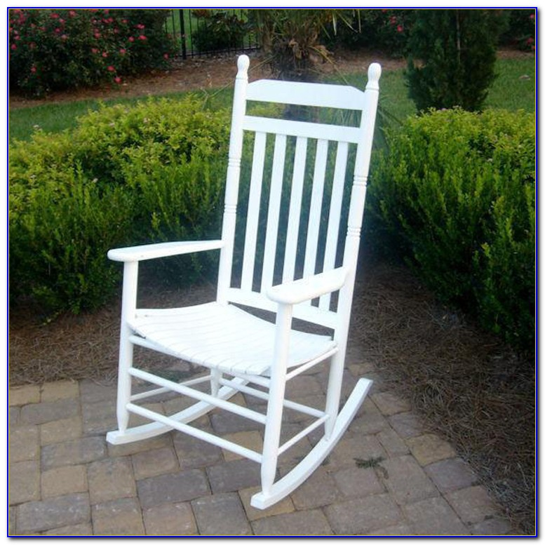 White Outdoor Wicker Rocking Chairs