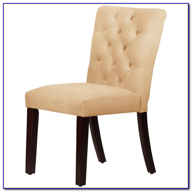 White Velvet Tufted Dining Chairs