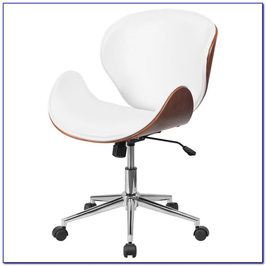 White Wood Desk Chair No Wheels