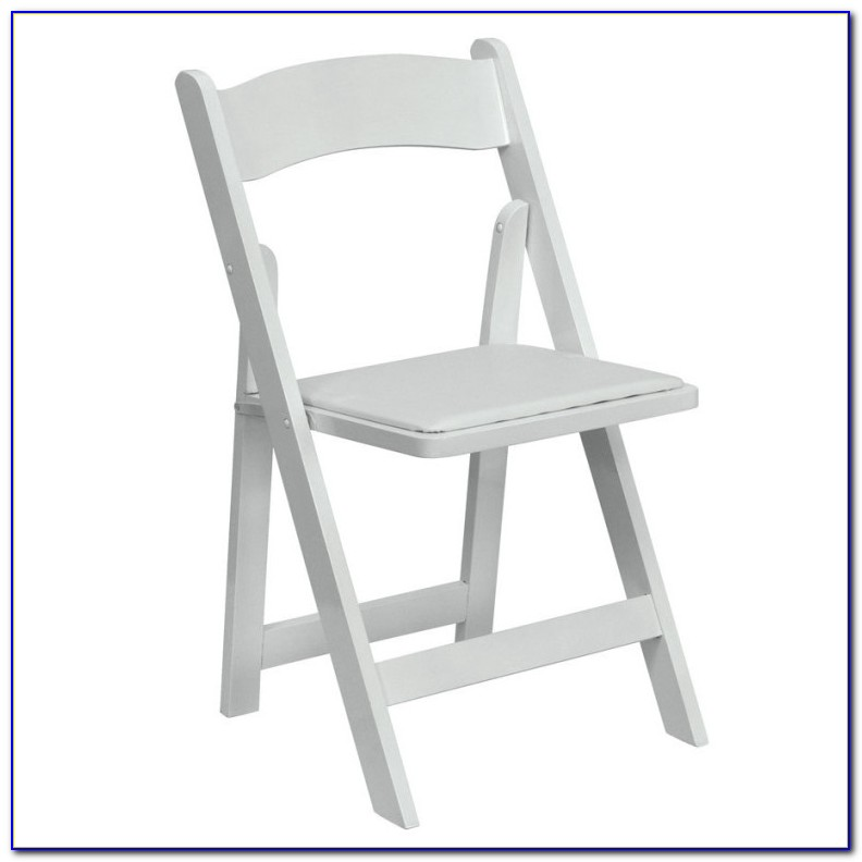 White Wood Folding Chair With Padded Seat