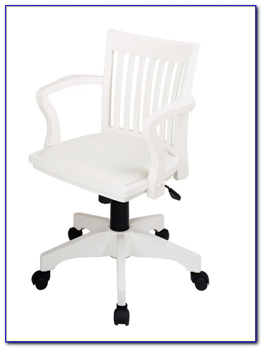 White Wooden Desk Chair With Arms