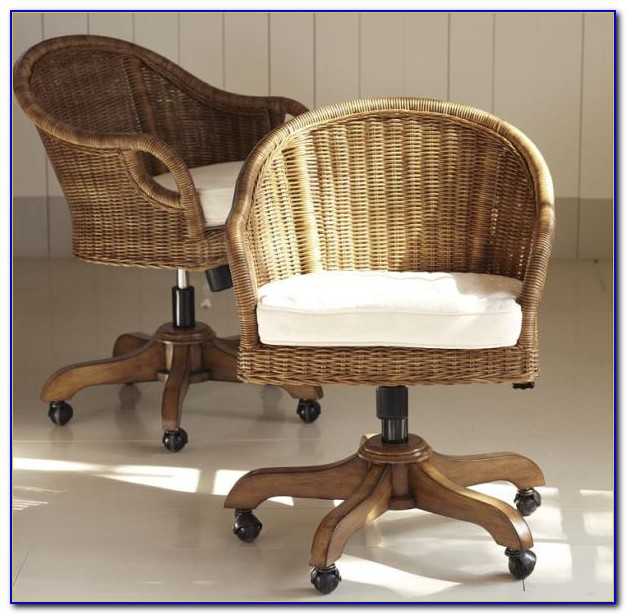 Wicker Swivel Desk Chair