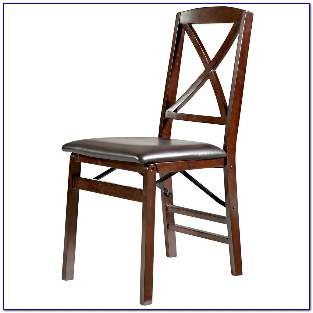 Wood Folding Chair With Upholstered Seat