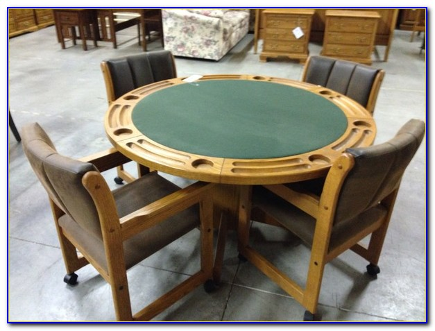 Wood Poker Table And Chairs