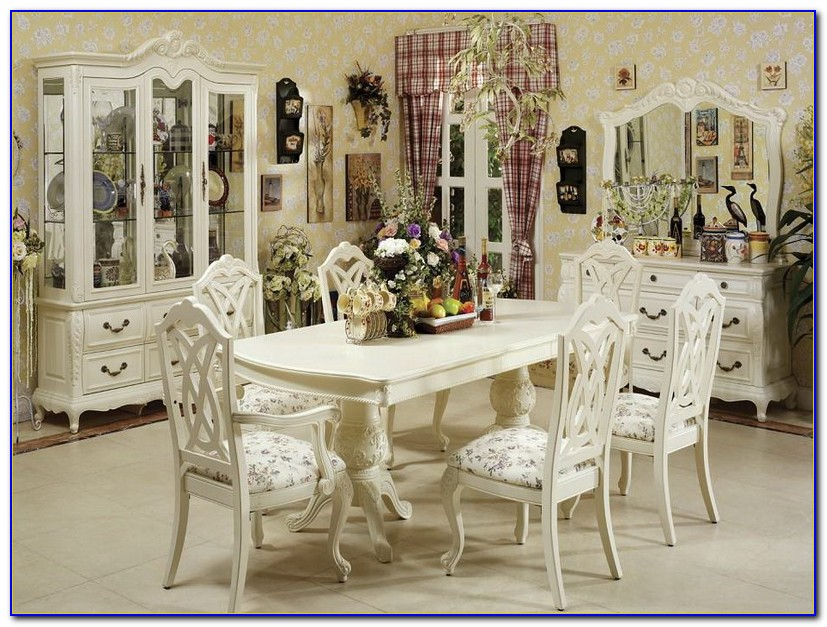 Antique White Dining Room Table And Chairs