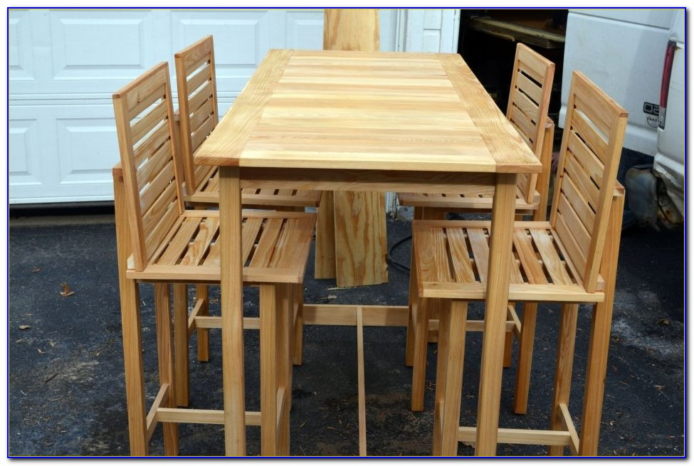 Bar Height Patio Table 6 Chairs