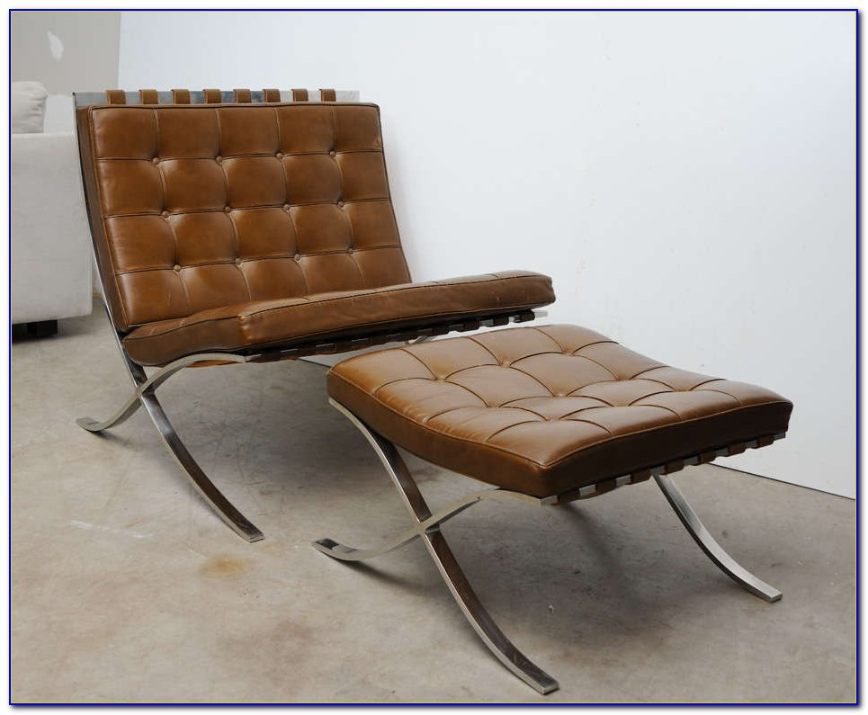 Barcelona Leather Chair And Ottoman