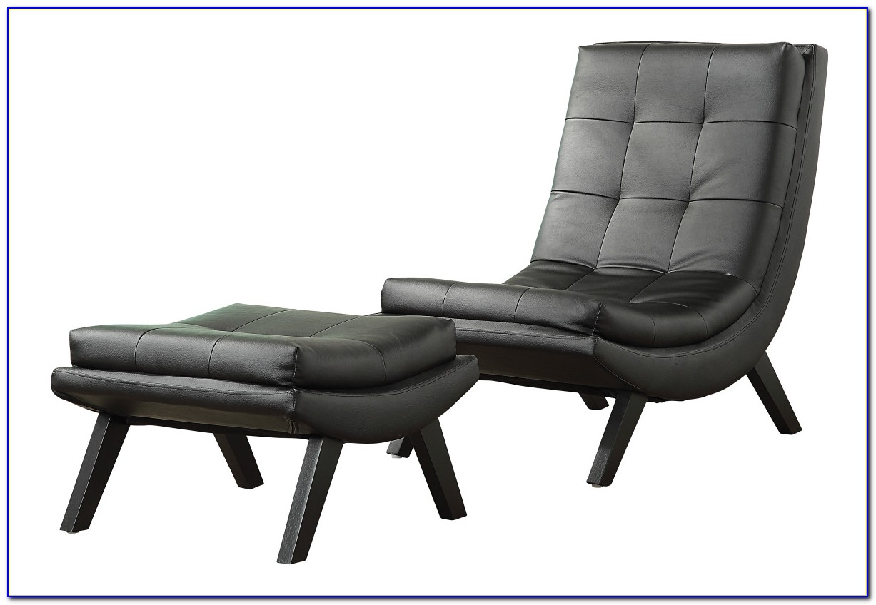 Black Leather Chair And A Half With Ottoman