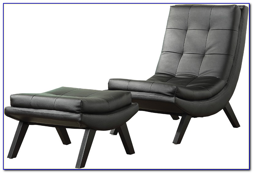 Black Leather Chair And Ottoman Set