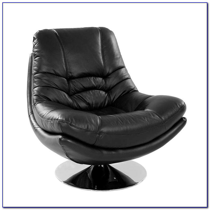Black Leather Swivel Chair With Ottoman