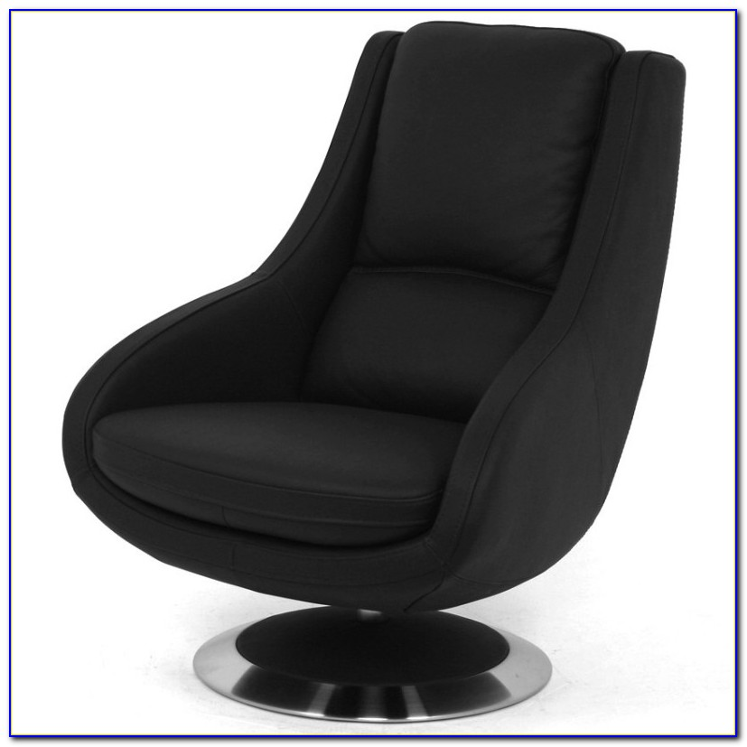 Black Leather Swivel Recliner Chair