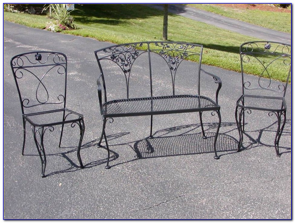 Black Mesh Metal Patio Chairs