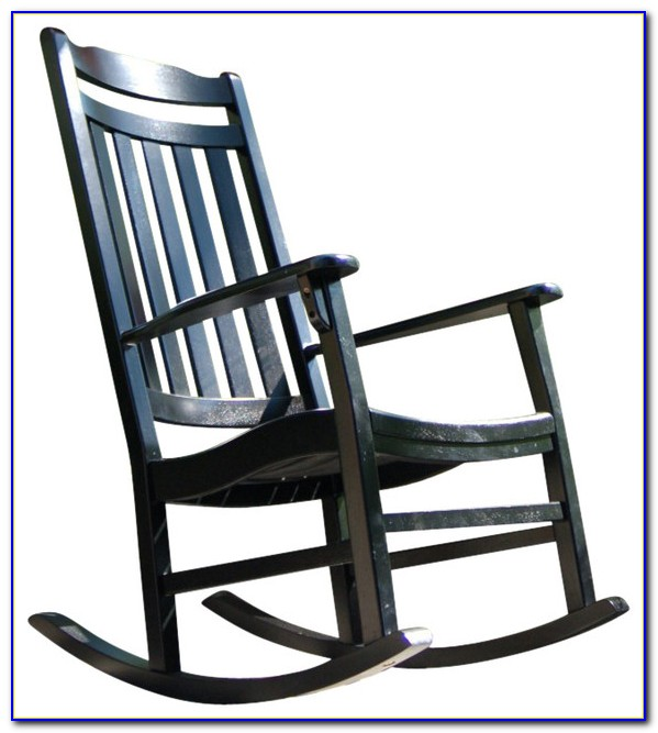 Black Wooden Outdoor Rocking Chair