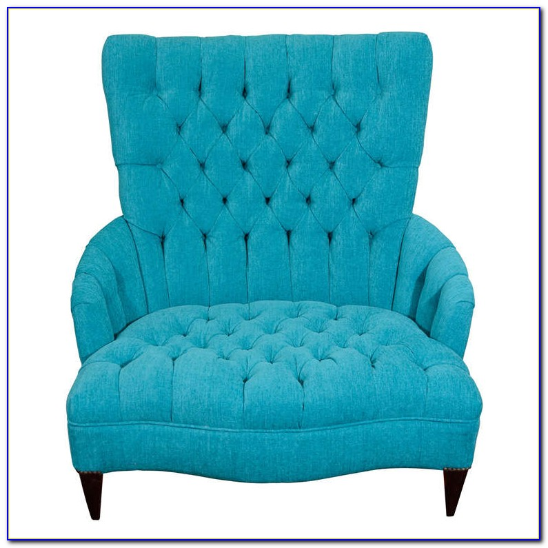 Blue Chair And A Half With Ottoman