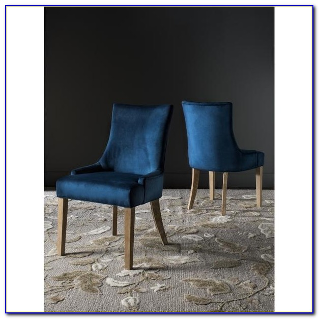 Blue Patterned Upholstered Dining Chairs