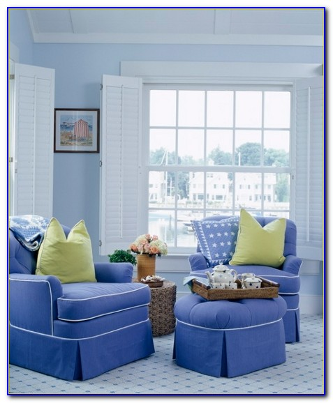 Blue Striped Living Room Chairs