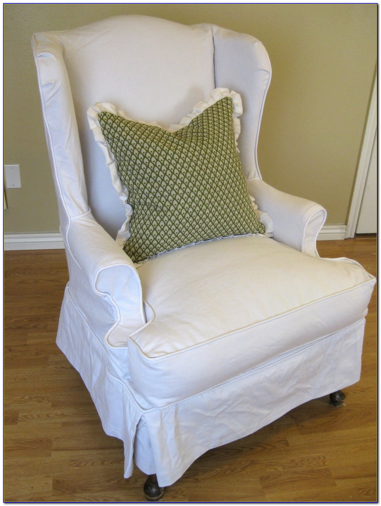 Blue Wing Chair Slipcover