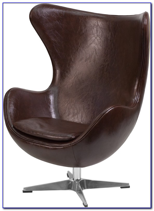 Brown Genuine Leather Swivel Chair Footstool