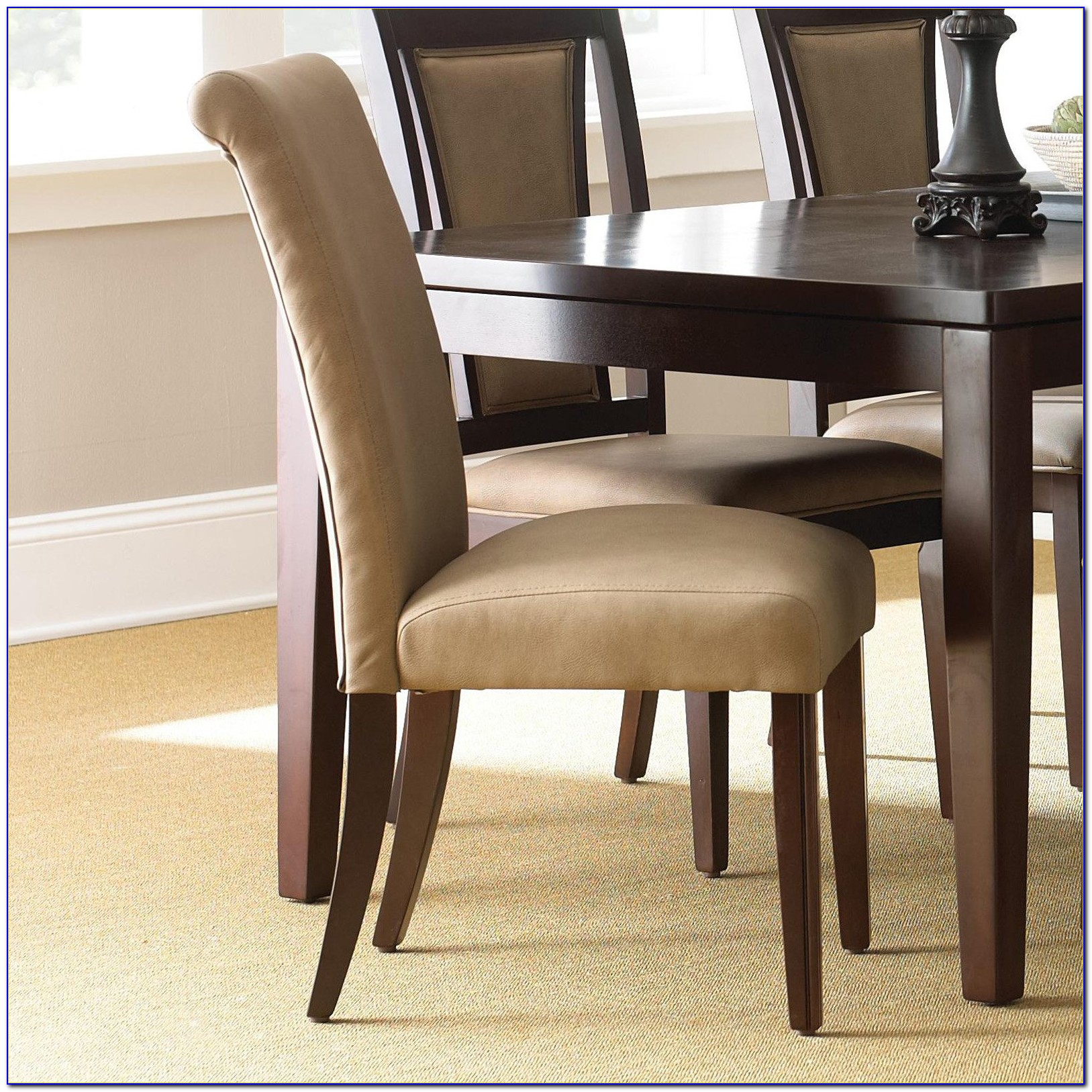 Brown Leather Parsons Chair Set Of 2