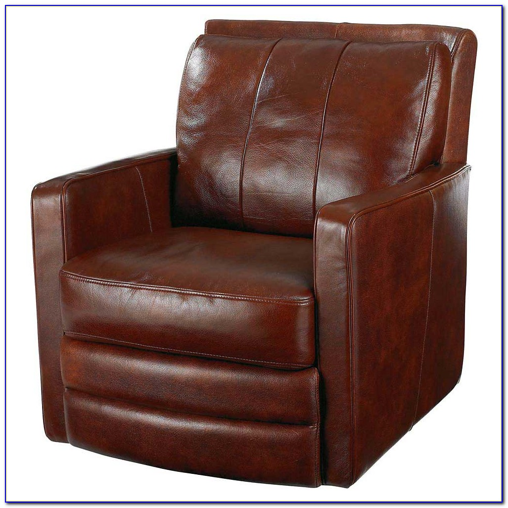 Brown Leather Swivel Chair With Footstool