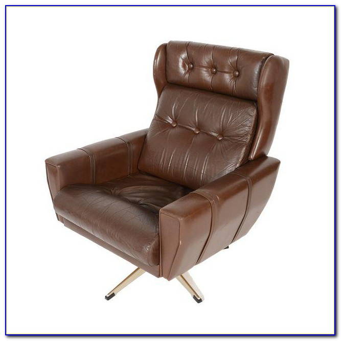 Brown Leather Swivel Cuddle Chair