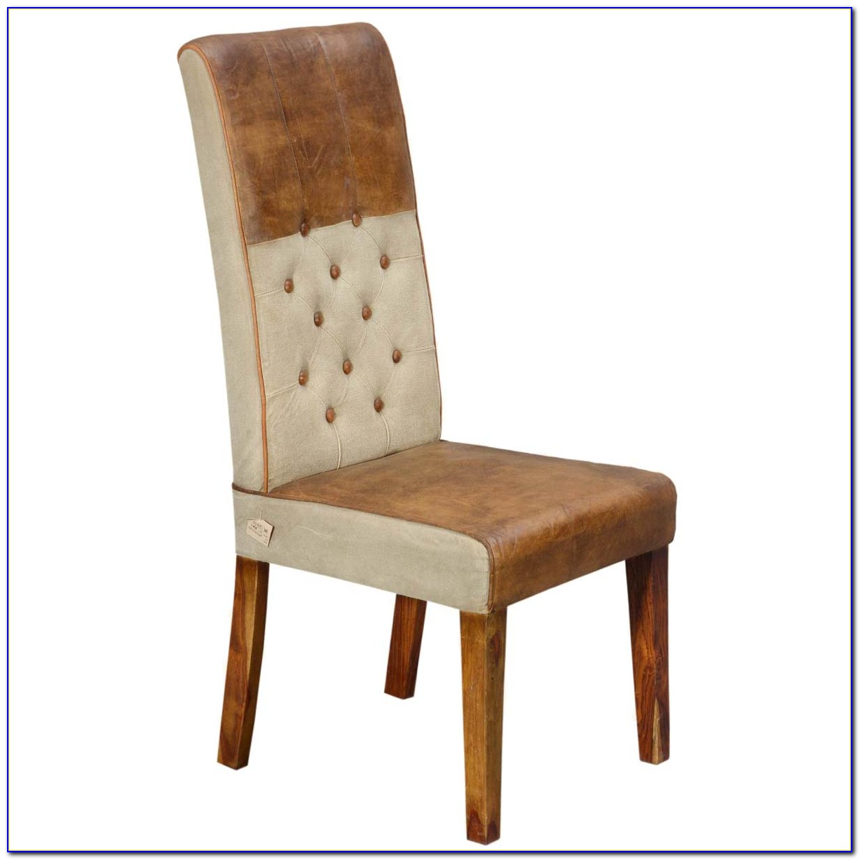 Brown Leather Tufted Dining Chair